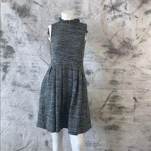 Ganni for Anthropologie grey tweed dress -small